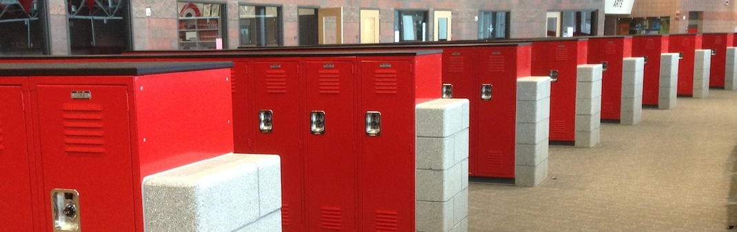 Lockers on the Second floor of the high school.