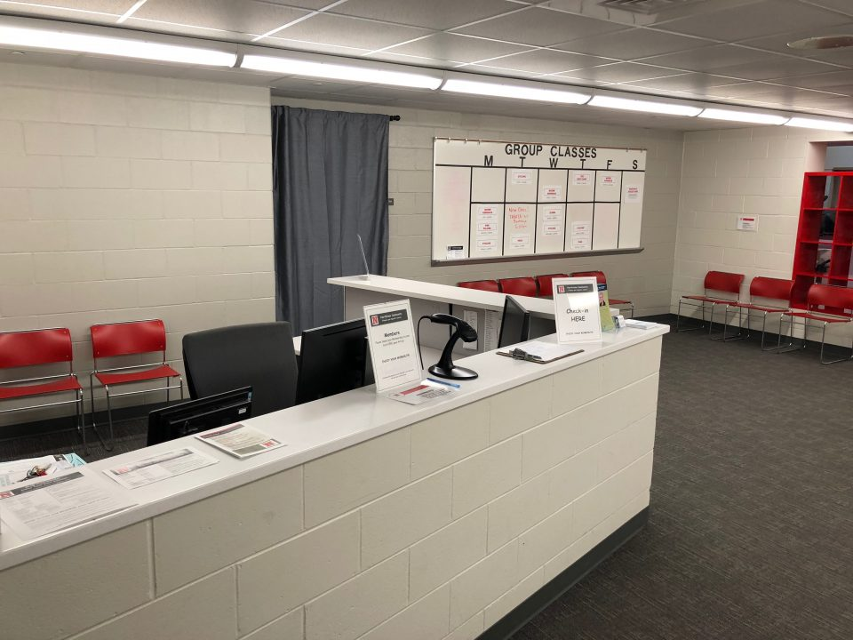The front desk of the fitness center.
