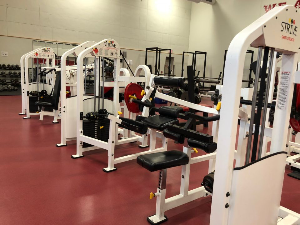 A photo of the various strength machines offered in the fitness center.