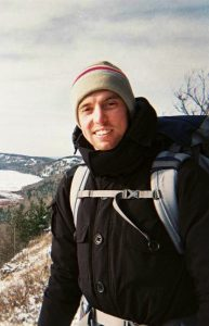 Matt Fenech hiking in the winter.