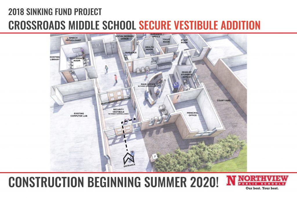 Crossroads vestibule construction layout.