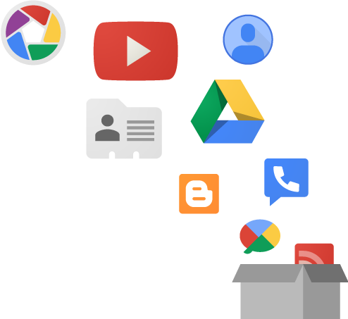 A bunch of google services icons going into a box.