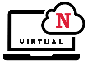Laptop with a cloud and the Northview N logo. Virtual Learning.